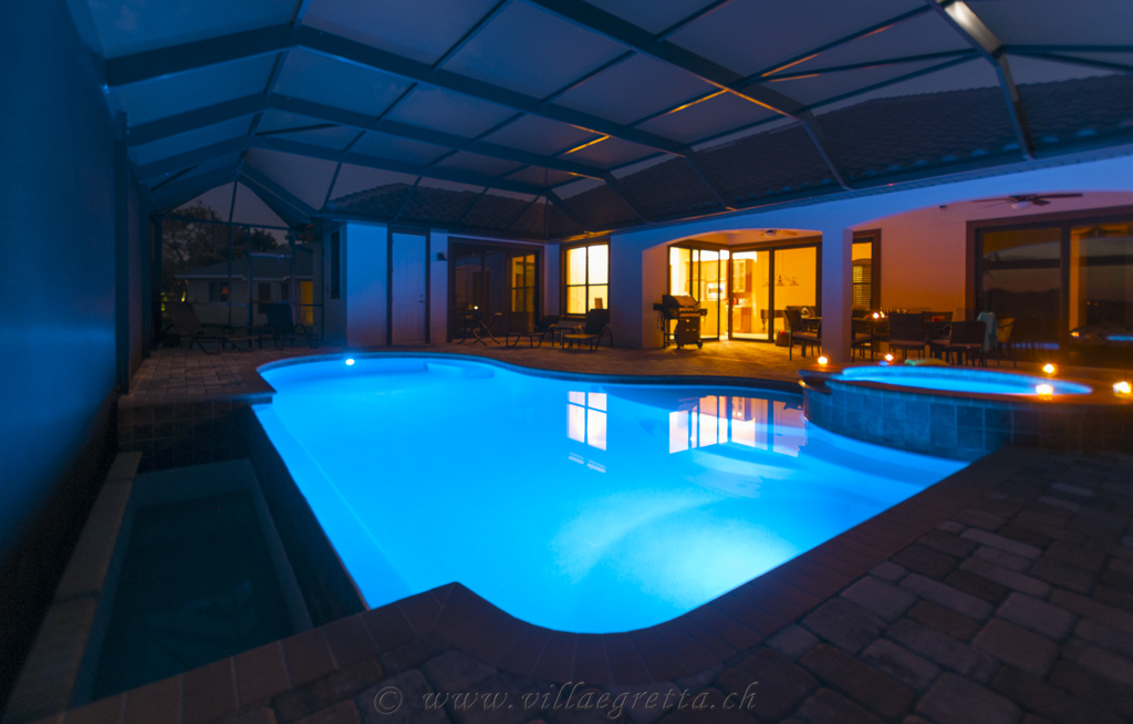 Villa Egretta Beltramonto Ansicht Swimmingpool Nacht